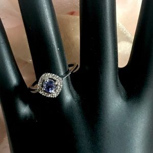 14K WHITE GOLD TANZANITE AND DIAMOND RING (7)